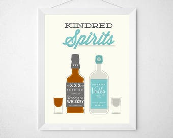 Liquor Bar Print - Kindred Spirits - art wall decor - modern minimal retro whiskey vodka gin spirits bar decor bottle shots alcohol drink