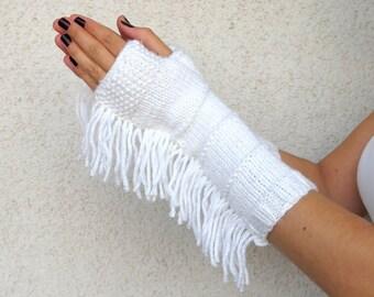 CHRISTMAS GIFT, Knit Fingerless gloves, bohemian, tribal style, fringed, Long knit gloves, Boho knit glove mittens, Winter Gift