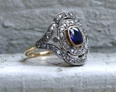 Early Edwardian Antique 18K Yellow Gold/ Platinum Diamond and Sapphire Ring Engagement Ring - 2.13ct.