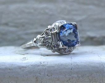 RESERVED - Vintage Art Deco Platinum Diamond and Ceylon Sapphire Engagement Ring - 3.96ct.