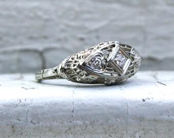 Ornate Vintage 18K White Diamond Three Stone Engagement Ring.