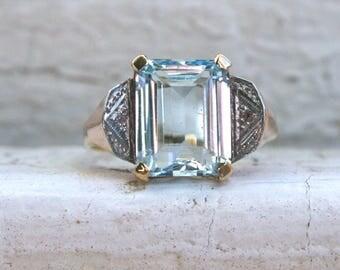Vintage 18K White, Rose, and Yellow Gold Retro Aquamarine And Diamond Ring - 5.02ct.