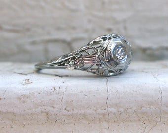 Sweet Vintage 18K White Gold Diamond Filigree Engagement Ring