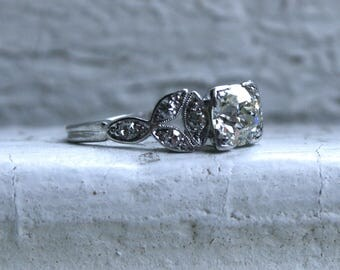 RESERVED - Stunning Leafy Vintage Diamond Platinum Engagement Ring - 0.81ct.