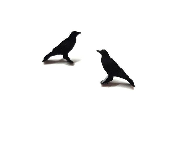 Crow Earrings | Laser Cut Jewelry | Hypoallergenic Studs