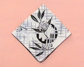 Vintage Art Deco hanky, 1930's handkerchief in black and grey, hanky with stylized flower pattern
