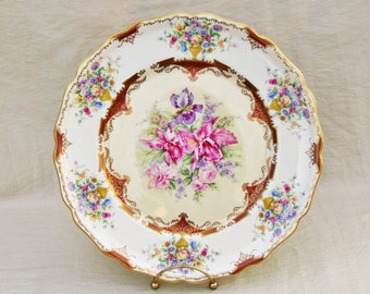 Vintage Rosenthal Bavaria dinner plate, formal floral pattern with orchids, irises, and roses on ivory, 8 more plates available