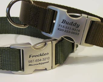 Personalized Dog Collar - Laser Engraved Aluminum Side Release Buckle With Name plate -  Available 16 Webbing Colors To Choose From