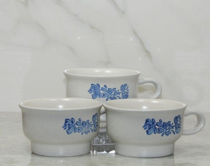 Vintage Pfaltzgraff YORKTOWNE Coffee Mugs,Tea Mugs, Blue on Gray, Stoneware Mug, Set of 3, Soup Bowl, Blue Floral Mug, Sauces, Desert Bowls