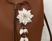 Dahlia flower inspired leather purse charm & keychain in white