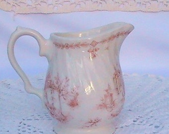 Vintage Churchill Brooks pink pattern creamer pitcher.