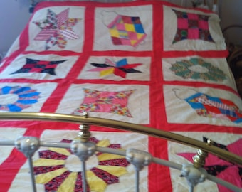 """Beautiful Multi colored cotton QUILT TOP Hand Made, Pieced/Appliqued -80"""" inches x 92"""" inches"""