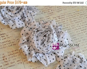 HOLIDAY SALE CLEARANCE - 1/2 or 1 Yard Increment - White Dots - Shabby Chiffon Flower Rose Trim - Diy Flower Headband