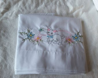 Embroidered Kitten Standard White Pillowcase  #616