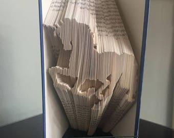 Unicorn Pattern - Folded Book Art - Combination Cut and Fold - Book Fold Art Pattern, Horse, Unicorn, Fairytale