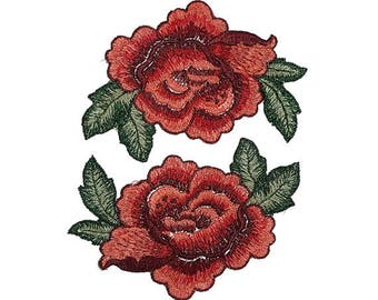 2 Embroidered Red Roses Flowers Patches Appliques