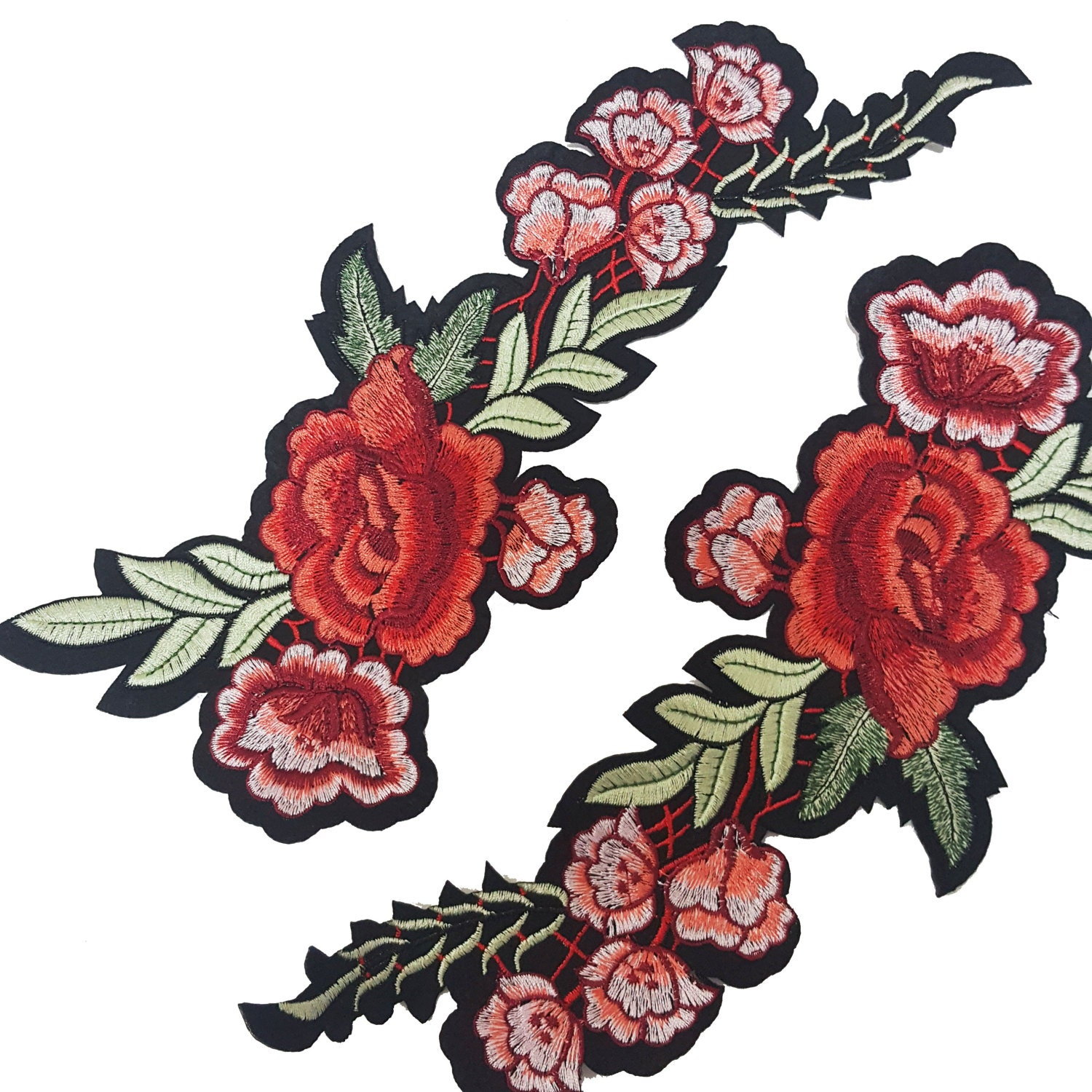 Iron on embroidered rose flower patch applique red