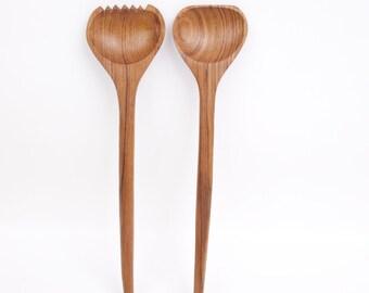 Vintage Wooden Salad Servers Carved Wood Utensils Mixing Set Salad Tossers Fork and Spoon