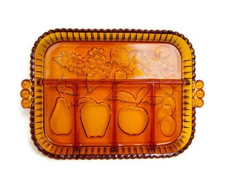 Vintage Amber Glass Divided Platter Embossed Fruit Pattern Glass Serving Tray Hobnail Handles Indiana Glass Co Divided Relish Tray Buffet