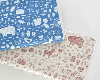 Plain Cotton Fabric, The forest animals Pattern, Decor Fabric 1/2 Yard (QT599)