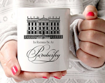 Jane Austen Mug, Gifts For Book Lovers, Pride & Prejudice, I'd Rather Be At Pemberley, Book Themed Mug