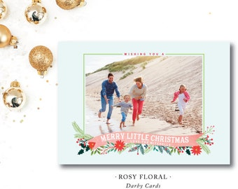 Rosy Floral Printed Holiday Cards | Family | Christmas Photocard | Printed or Printable by DarbyCards