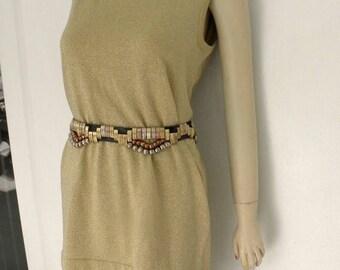 1/2 OFF Vintage Richard & Co. Gold Knit Metallic Shell n Skirt,  2 Piece, 2 Pc, 80's/90's sz S, M