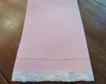 Hand Towel, Vintage, Pink Linen, Lace, Pin Stitched