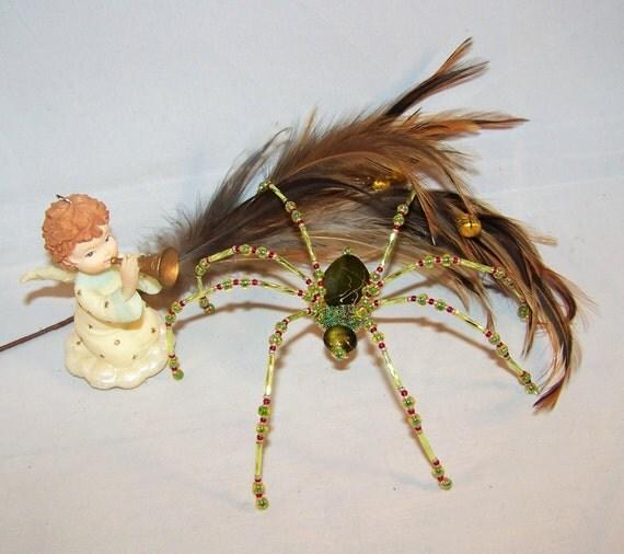 christmas spider green gold vein beaded german ornamental. Black Bedroom Furniture Sets. Home Design Ideas