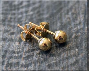 14k Gold Filled Ball Post Earrings. Gold Stud Earrings, 4mm Ball Post Earrings, Handmade Stud earrings, Simple Post Earrings, Gold Filled