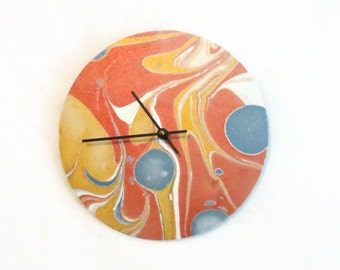 Unique Wall Clock, Marbled Paper, Home and Living, Home Decor, Clocks