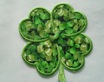Four leaf clover iron on or sew on applique patch