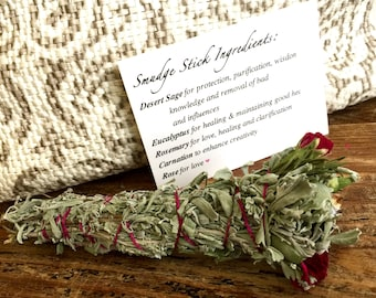 Sage, Eucalyptus, Rosemary, Carnation, and Rose Smudge Stick