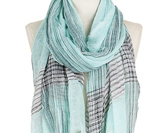 Lurex Deco Linen Sheer Fashion Accessory Scarf Mint Frayed Edge