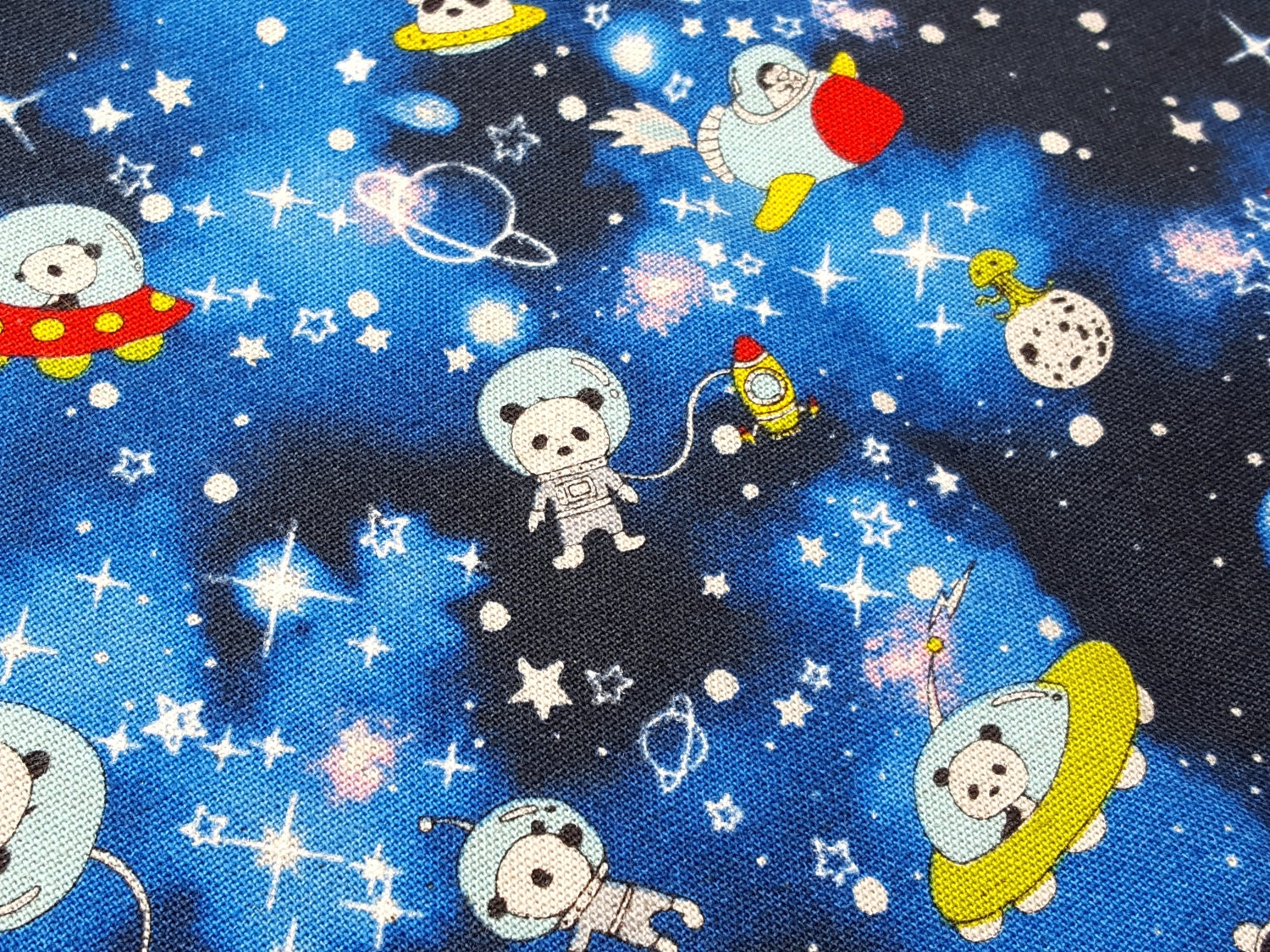 Cartoon fabric cute panda in space fabric in starry blue for Space fabric