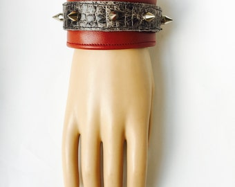 Red Leather Cuff with Silver Spikes