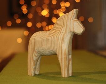 "BIG Dala Horse 6"" Unfinished Natural Wood, Wooden Swedish Dalahorse, Raw Wood DIY Paint Your Own Scandinavian Dalahäst"