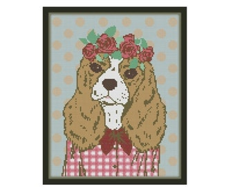 HURRY PRESIDENTS DAY Sale Hipster Dog Cross Stitch Pattern - Dog Cross Stitch Pattern - Modern Cross Stitch Pattern - Animal Cross Stitch Pa