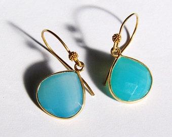 Lovely Bright Turquoise Chalcedony Tear Drop Earrings