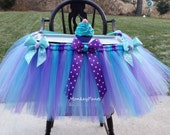 High Chair Tutu Skirt - Cake Smash Tutu - High Chair Decoration - Little Mermaid Theme - Purple, Teal, Aqua - First Birthday Decoration