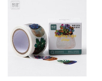 Diary Scrapbook Adhesive Masking Deco Washi Tape - Succulent Plant  (7M x 3 cm)