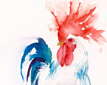 rooster art, rooster watercolor rooster print rooster painting chicken watercolor chicken painting chicken print chicken canvas kitchen art,