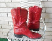 Spring Sale Vintage 80s Red Western Justin Roper Boots Size 6 B or 8 M 38 EU Pull On