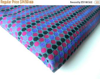 ON SALE Cobalt blue black pink polka dots tie silk India brocade fabric nr 350 fat quarter