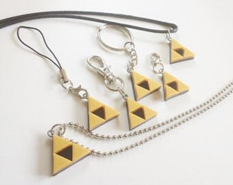 Legend of Zelda Inspired Triforce Charm/ Key Chain/ Necklace/ Cellphone Strap