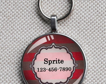 Pet iD tag one inch round CAT ID small breed Dog Tag Dog tag Cat Tag by California Kitties striped red round ID CT2020