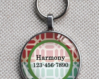 Pet iD tag one inch round CAT ID small breed Dog Tag Dog tag Cat Tag by California Kitties bright colorful round ID CT7475