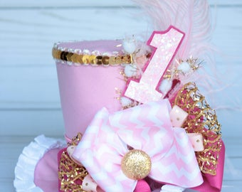 First Birthday Circus Ring Master Inspired Pink, White and Gold  Mini Top Hat Headband (or fascinator)