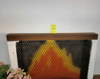 "Reclaimed Barnwood Beam 48 3/8"" Long Barn Wood Shelf Fireplace Mantle Barn Wood Shelving"
