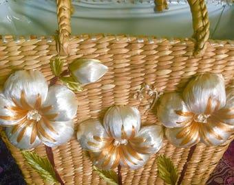 Vintage Straw Bag 3d Floral